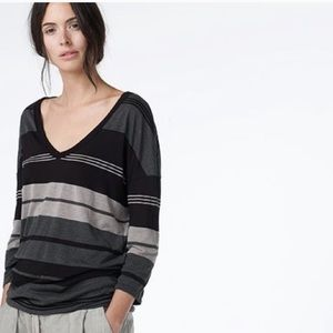 James Perse Tops - James Perse | Relaxed Striped Deep V Neck Knit Tee